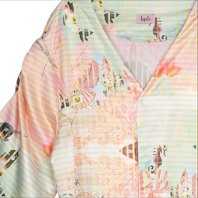 natural pattern robe dress pink